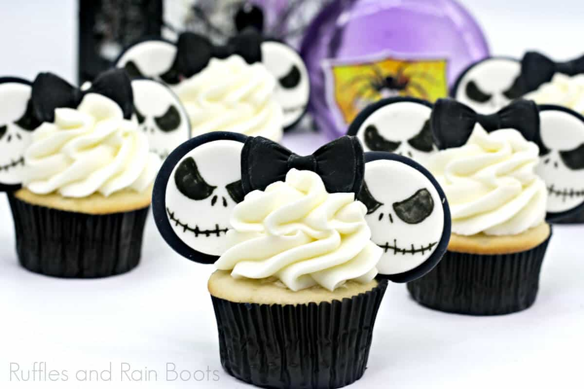 side view of Jack Skellington Nightmare Before Christmas cupcakes on a white table
