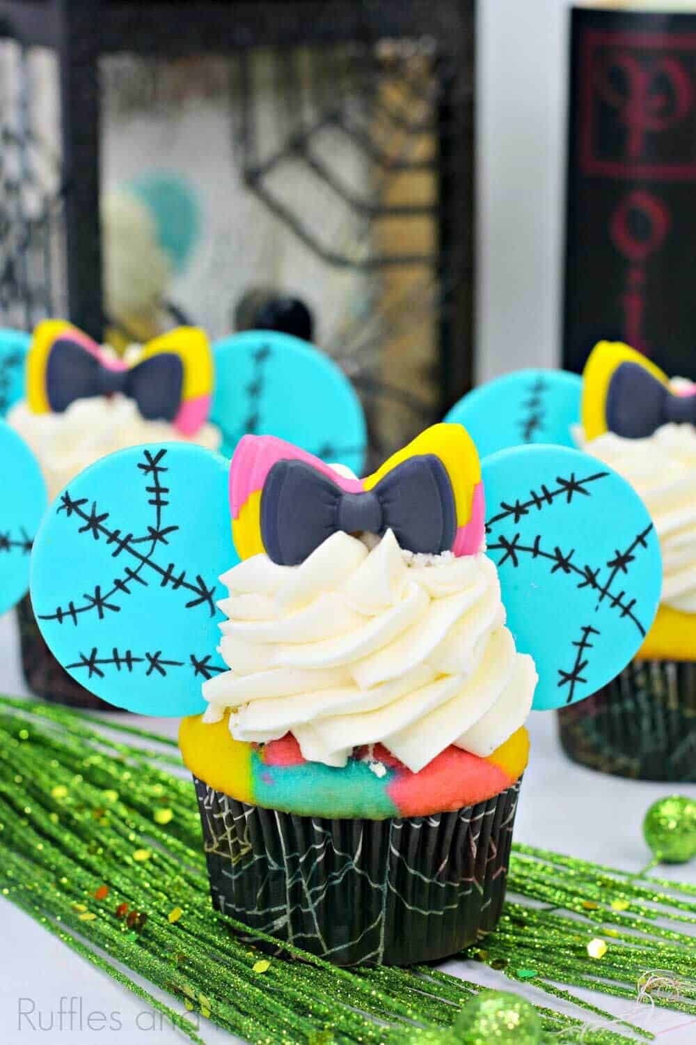 close up of mouse ear cupcakes for nightmare before christmas