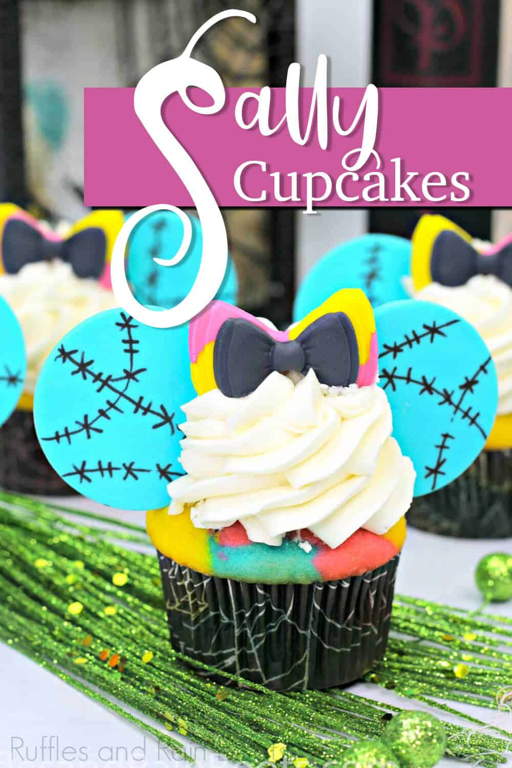 close-up of NBC cupcakes with text which reads sally cupcakes
