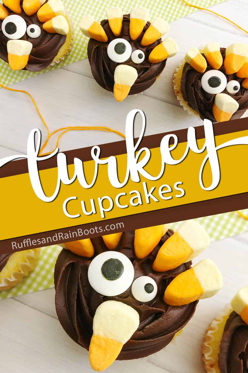 photo collage of easy cupcakes for thanksgiving with text which reads turkey cupcakes