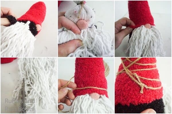 photo collage tutorial of how to make a dollar store gnome with a twine wrapped hat