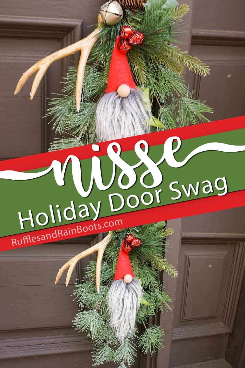 photo collage of christmas door decoration with a gnome with text which reads nisse holiday door swag