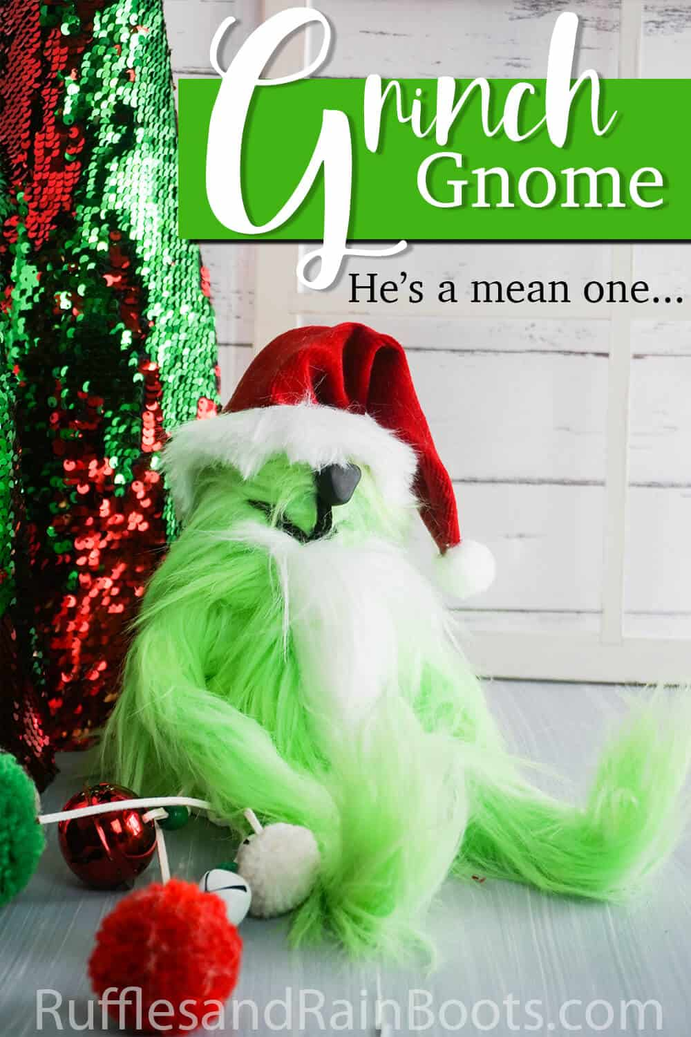 side view of grinch gnome with text which reads grinch gnome he's a mean one
