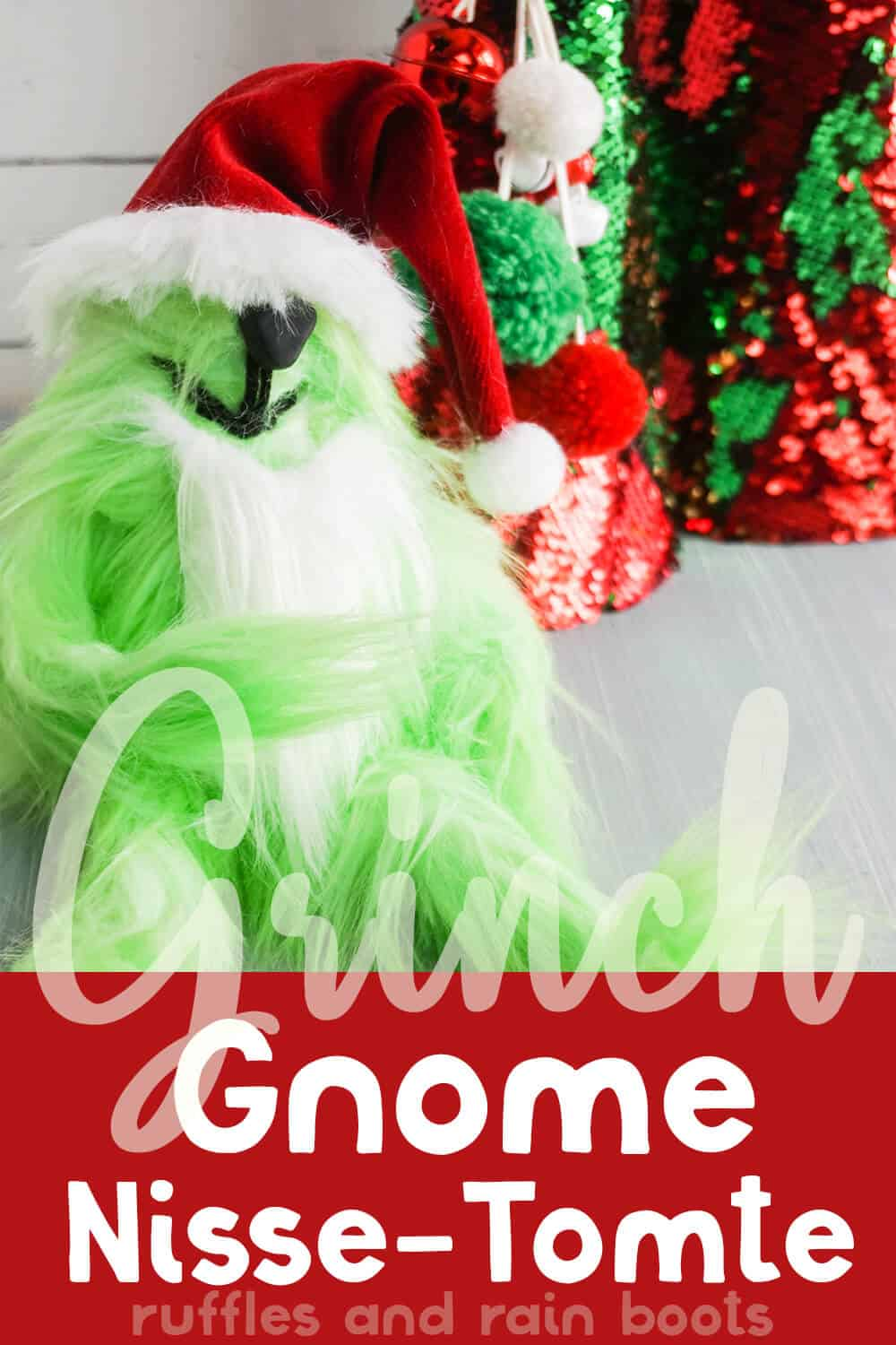 close-up of gnome that looks like the grinch with text which reads grinch gnome nisse tomte