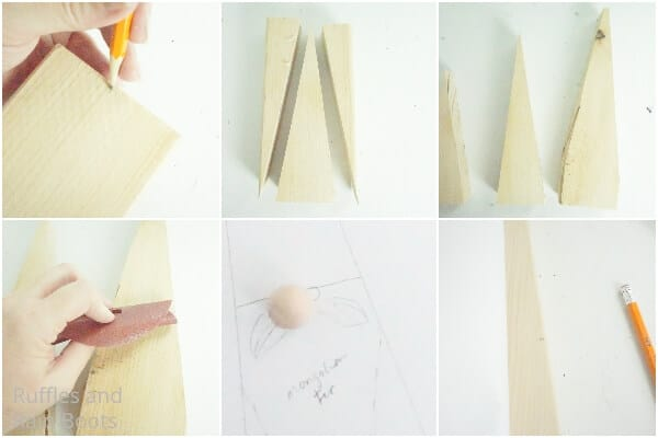 photo collage tutorial of how to make a gnome from a wood block