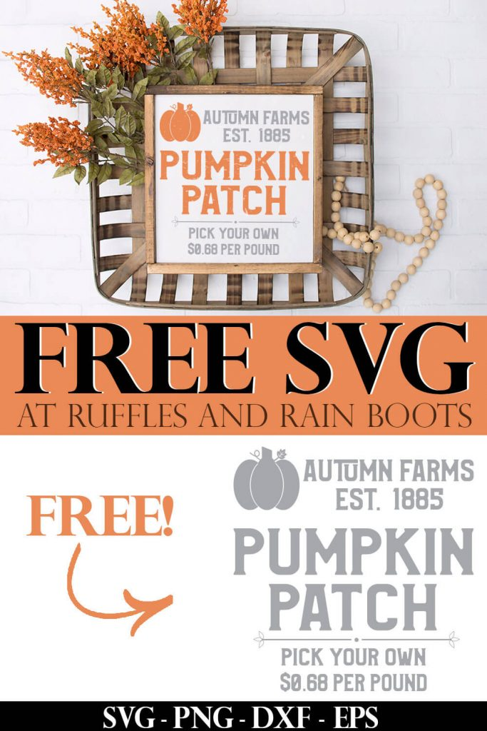 photo collage of Free Pumpkin Patch SVG Autumn Farms with text which reads free svg