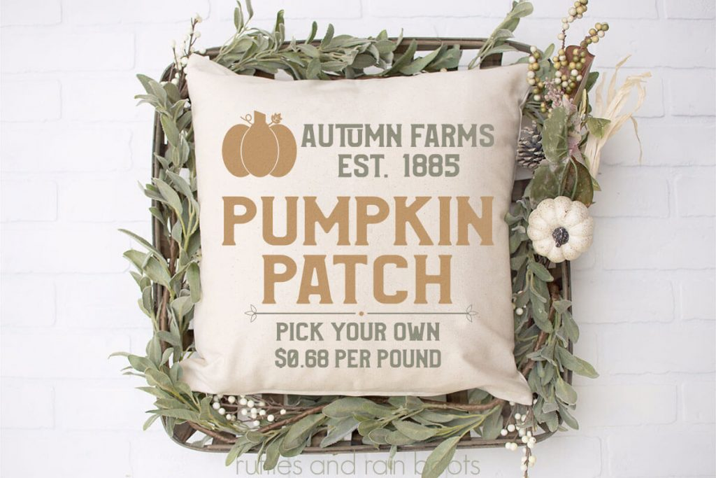 pumpkin patch svg on pillow for easy fall decor with cricut on a white background with some fall decorations