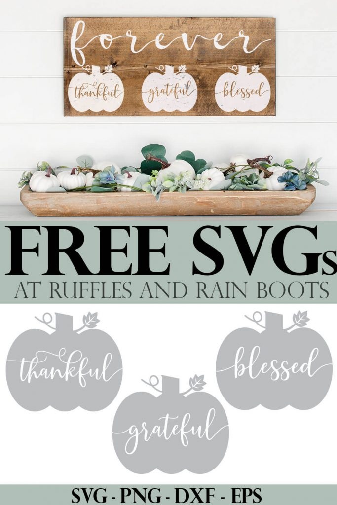 photo collage of Thankful SVG Grateful Cut File Blessed SVGs for Pumpkin Craft with text which reads free svgs