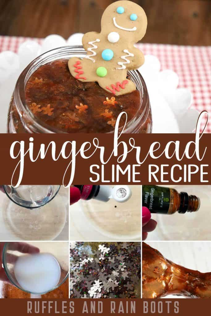 photo collage of Christmas Gingerbread Slime for Sensory Play with text which reads gingerbread slime recipe