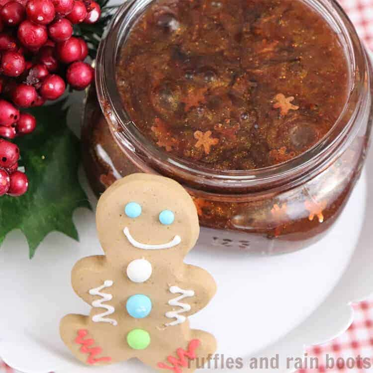 Christmas Gingerbread Slime on a white table with a gingerbread man