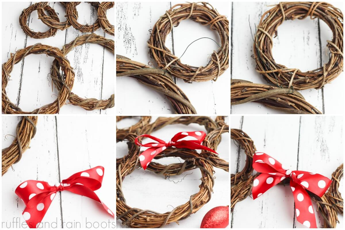 photo collage tutorial of How to Make a DIY Mickey Mouse wreath Minnie Mouse Ornament