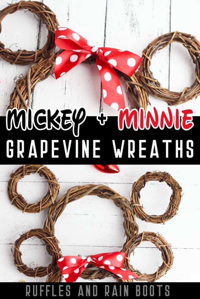 photo collage of Minnie Mouse Wreath Mickey Mouse Grapevine Wreath with text which reads mickey & minnie grapevine wreaths