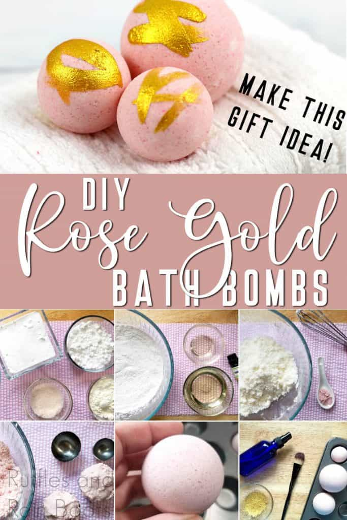 photo collage of how to make millennium pink bath bombs with text which reads make this gift idea diy rose gold bath bombs