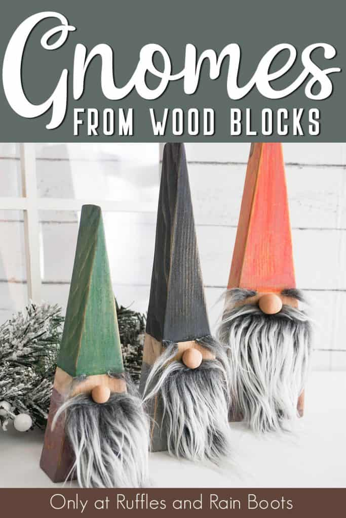 christmas gnome tutorial with text which reads gnomes from wood blocks
