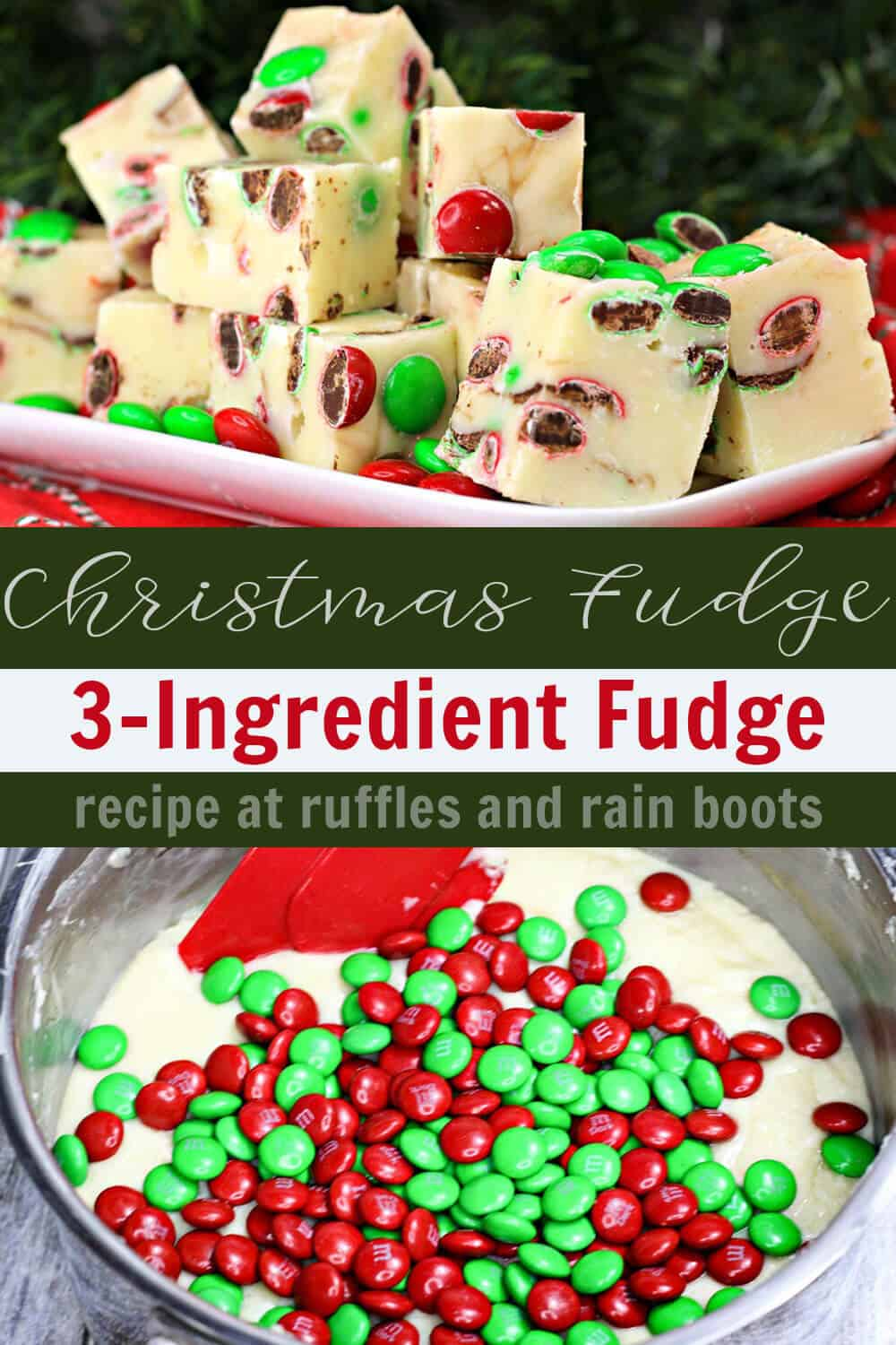 photo collage of easy christmas fudge recipe with text which reads Three Ingredient Fudge for Christmas