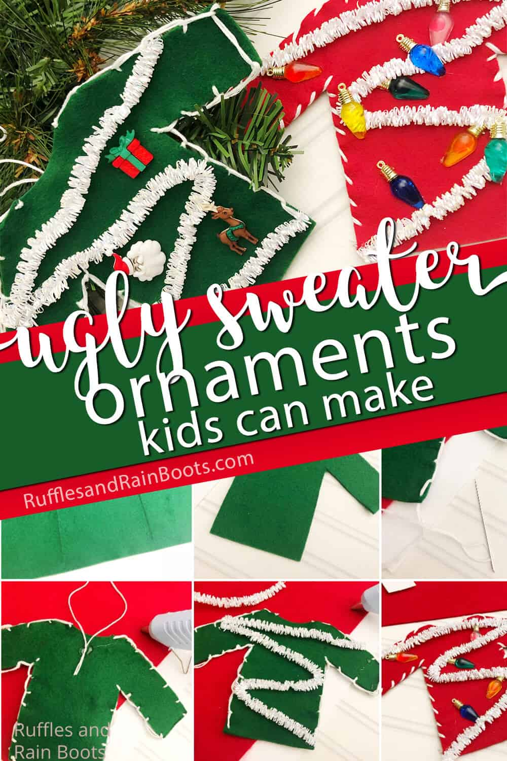 photo collage of kid-made christmas sweater ornament for the christmas tree with text which reads ugly sweater ornaments kids can make