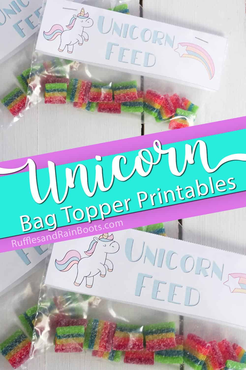 photo collage of unicorn party favor bag toppers with text which reads unicorn bag topper printables