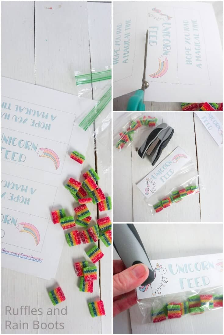 photo collage tutorial of how to make a unicorn treat bag topper