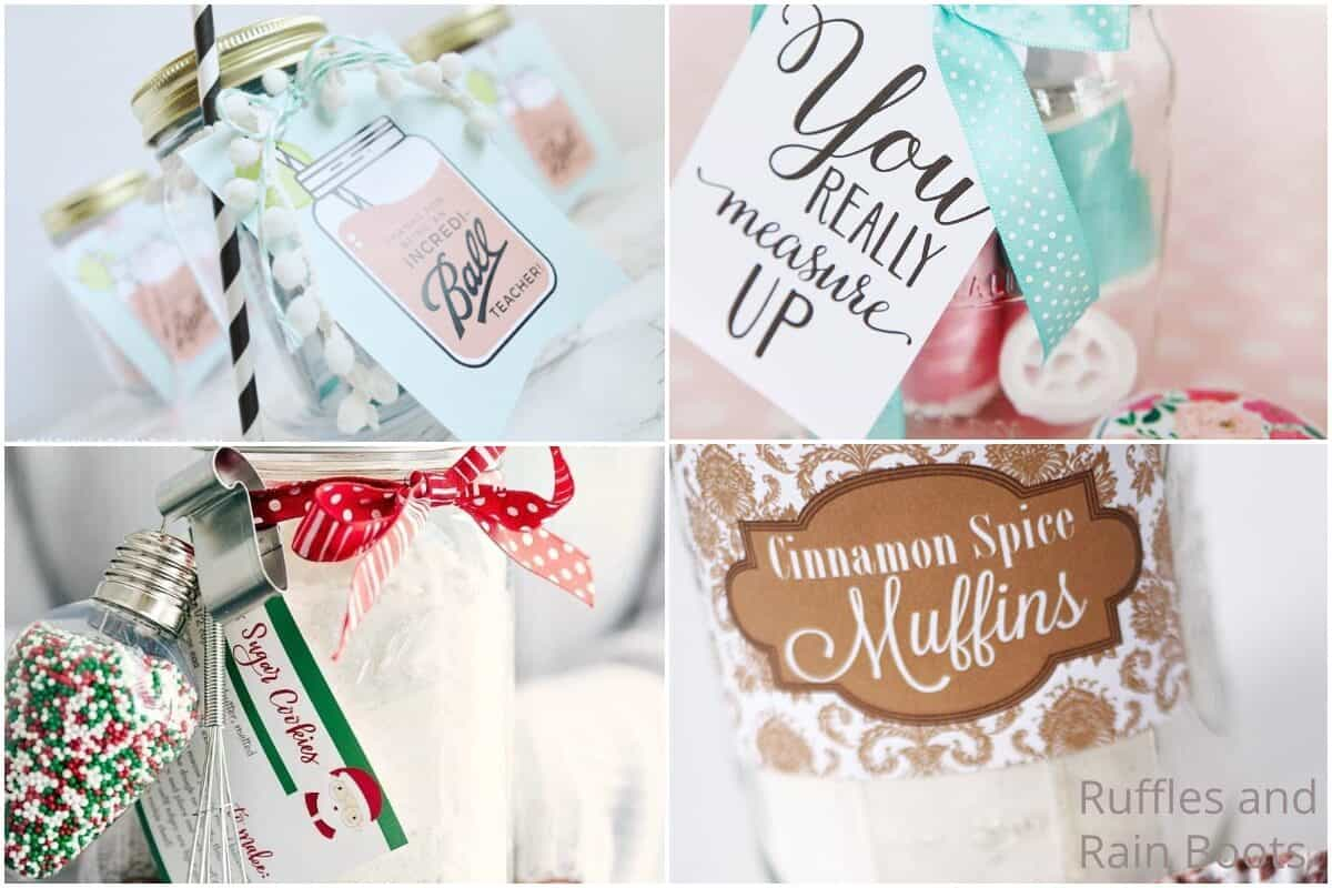 photo collage of how to make a mason jar gift for christmas S