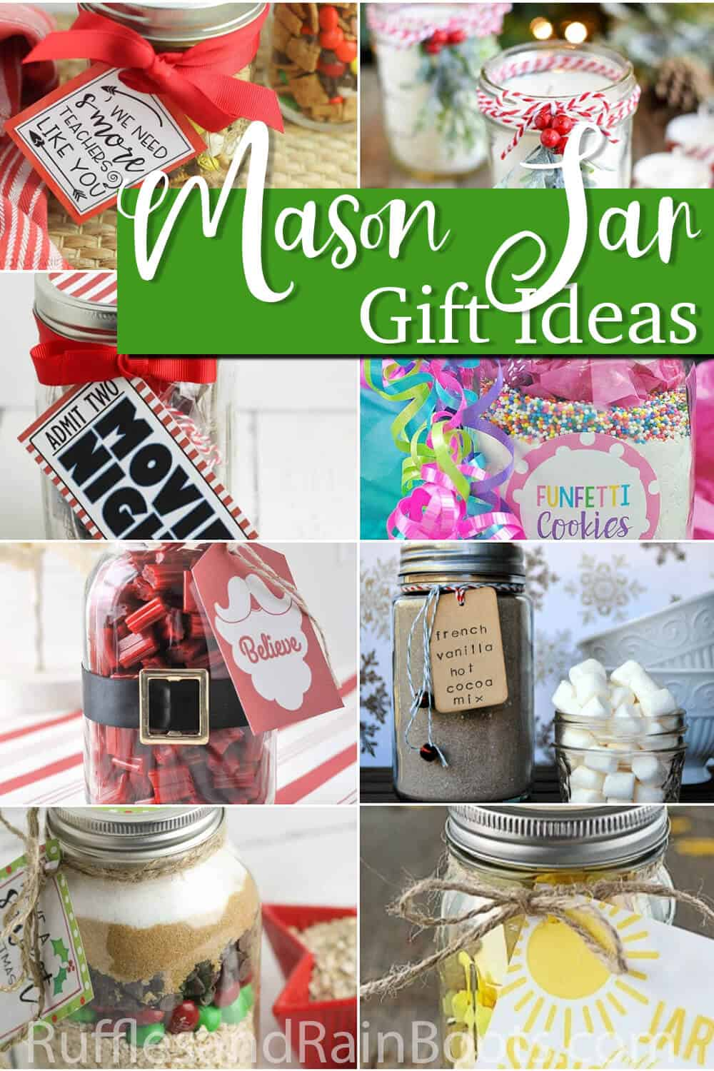 photo collage of christmas jar craft gift ideas with text which reads mason jar gift ideas