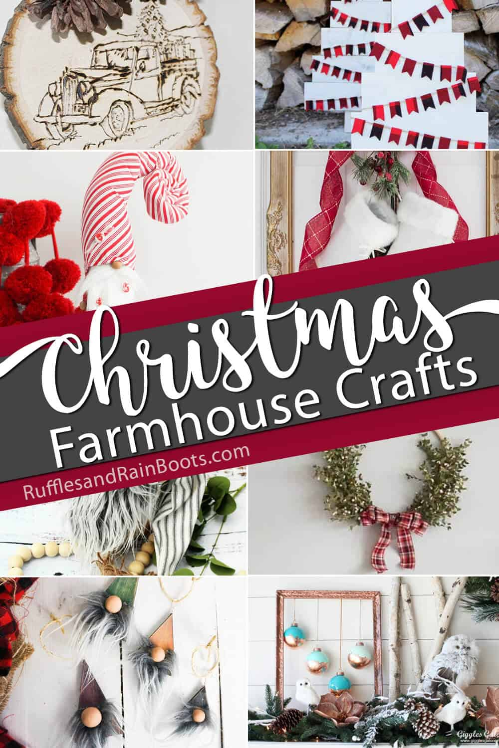 photo collage of holiday farmhouse decor DIY ideas with text which reads christmas farmhouse crafts