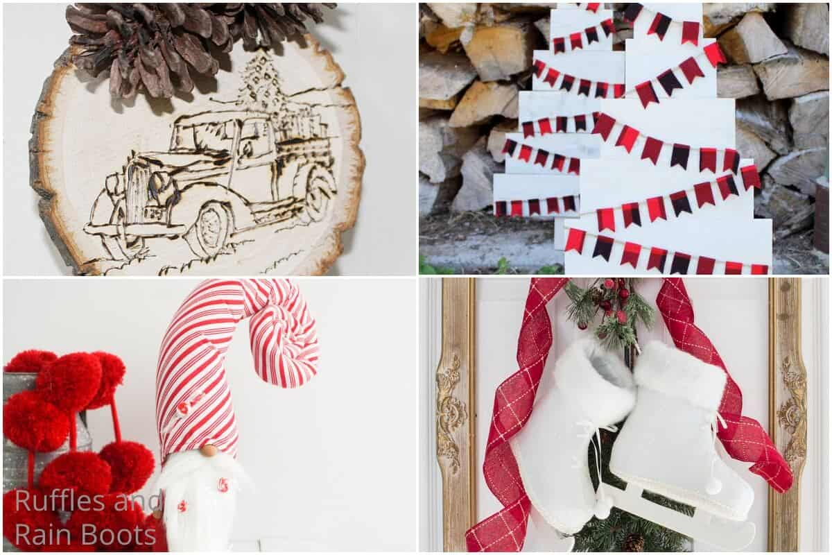 photo collage of diy farmhouse christmas crafts