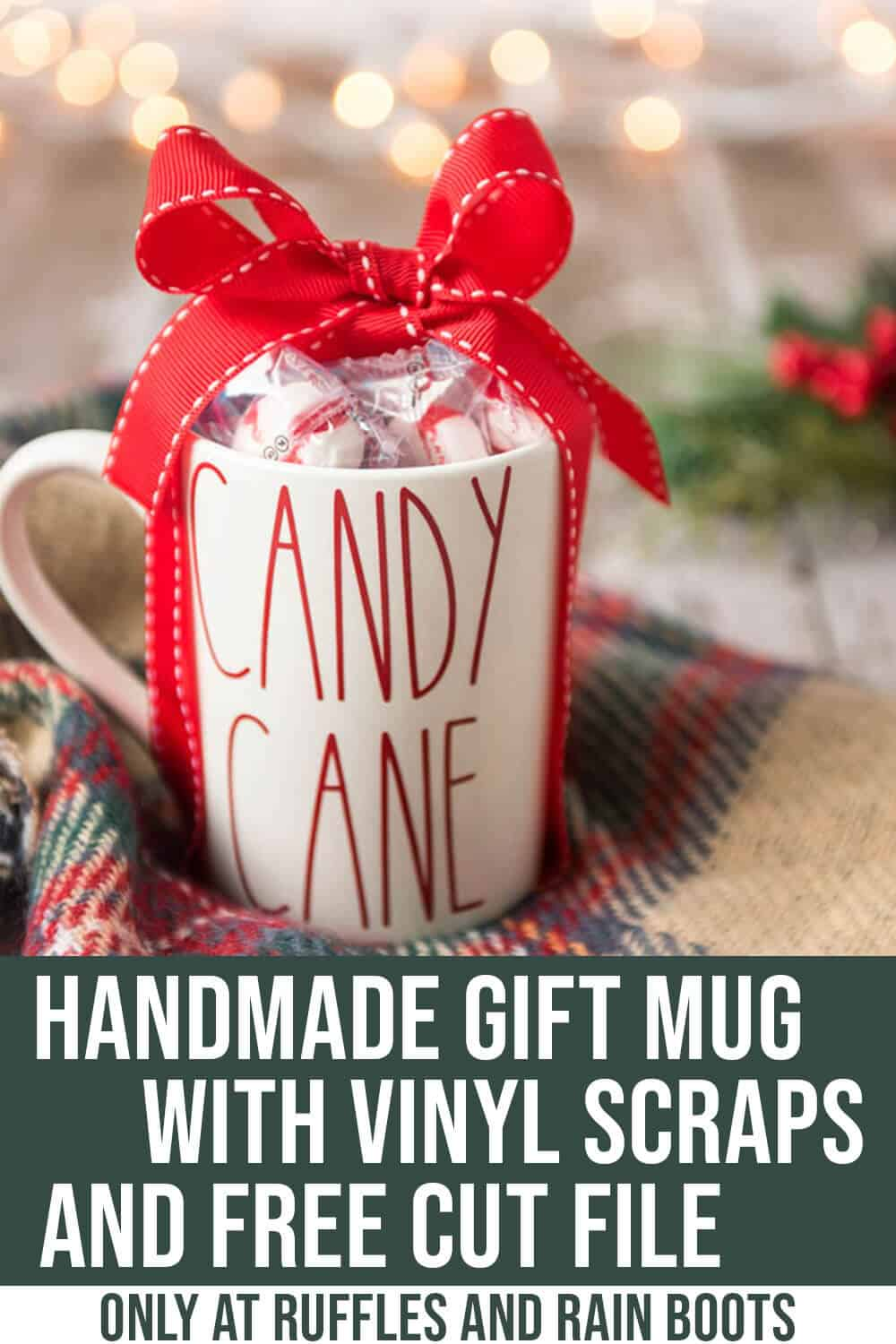 easy christmas gift mug idea with text which reads Handmade Mug Gift with vinyl scraps and Free Cut File