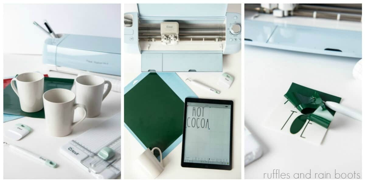 photo collage tutorial of how to make a Rae Dunn Inspired Cricut Mug Gift Collage 1