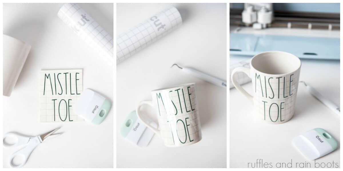 photo collage tutorial of how to make a Rae Dunn Inspired Cricut Mug Gift