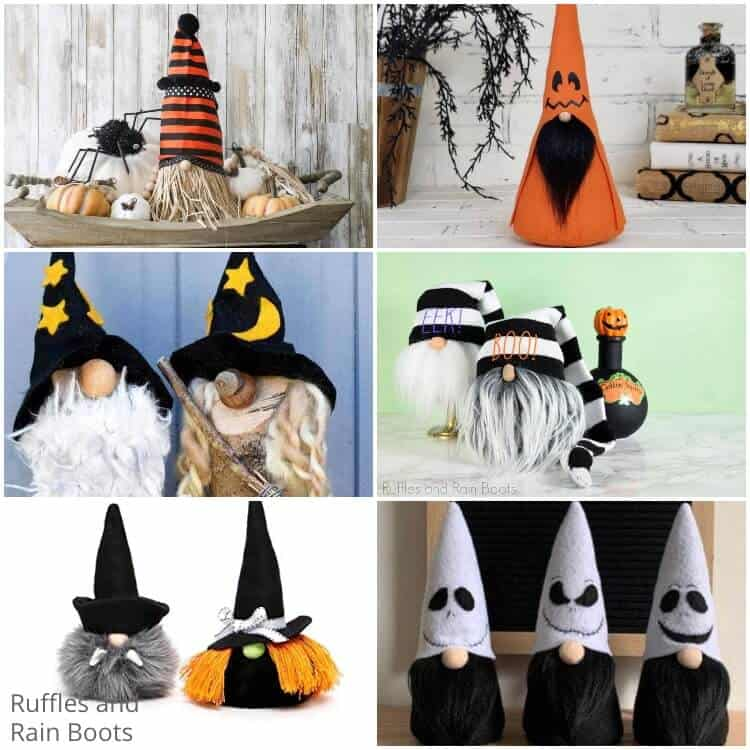 photo collage of easy halloween gnomes
