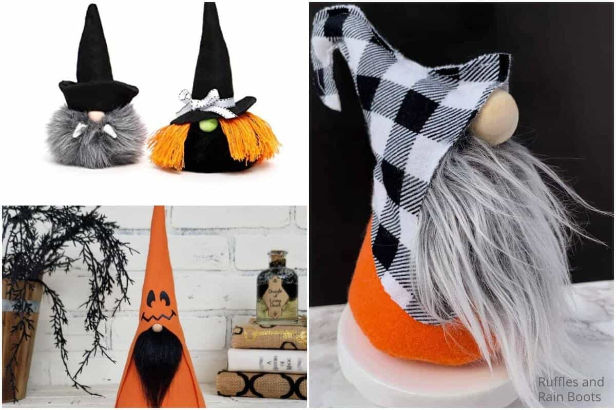 photo collage of easy halloween nisse pattern