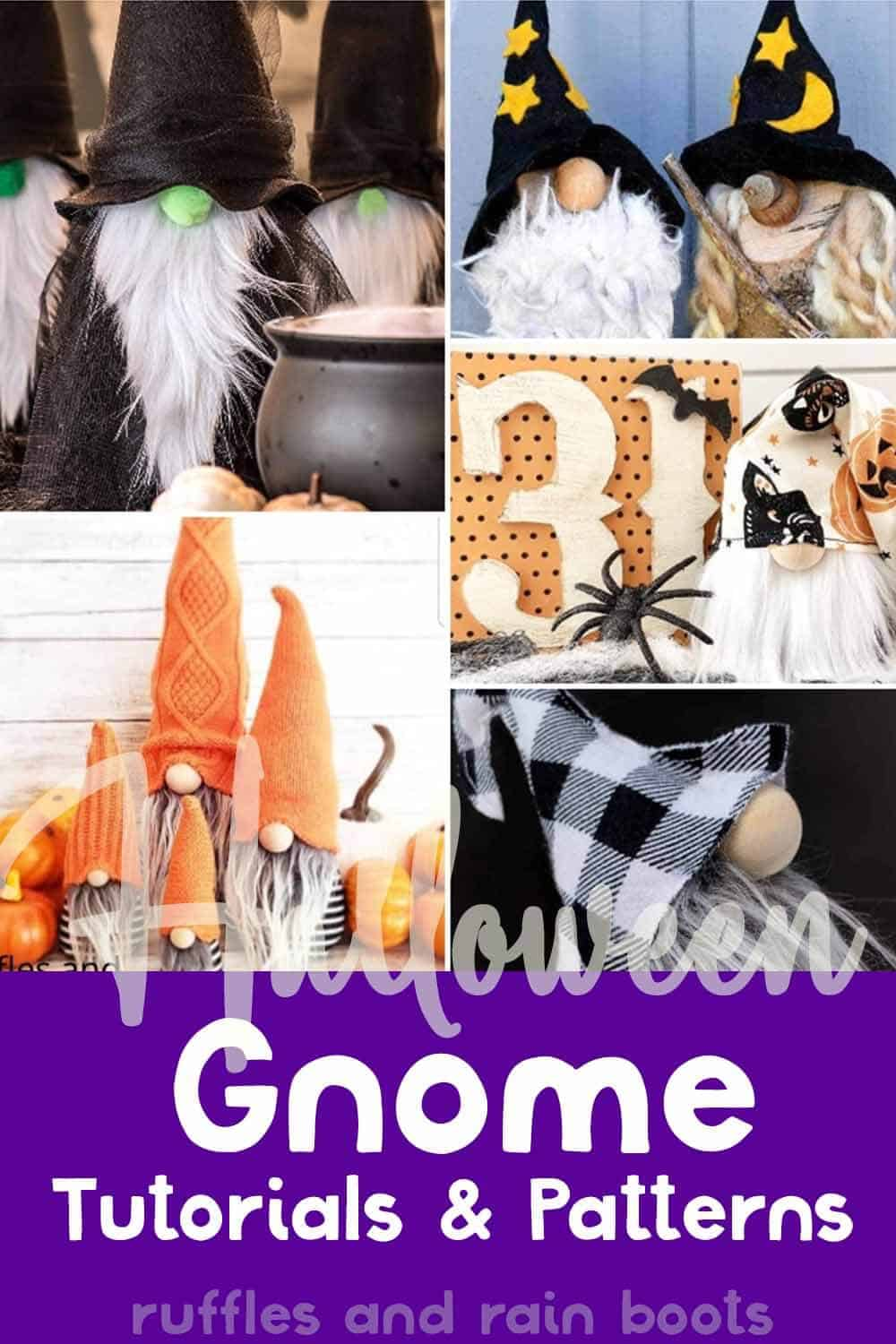 photo collage of halloween nisser with text which reads halloween gnome tutorials & patterns