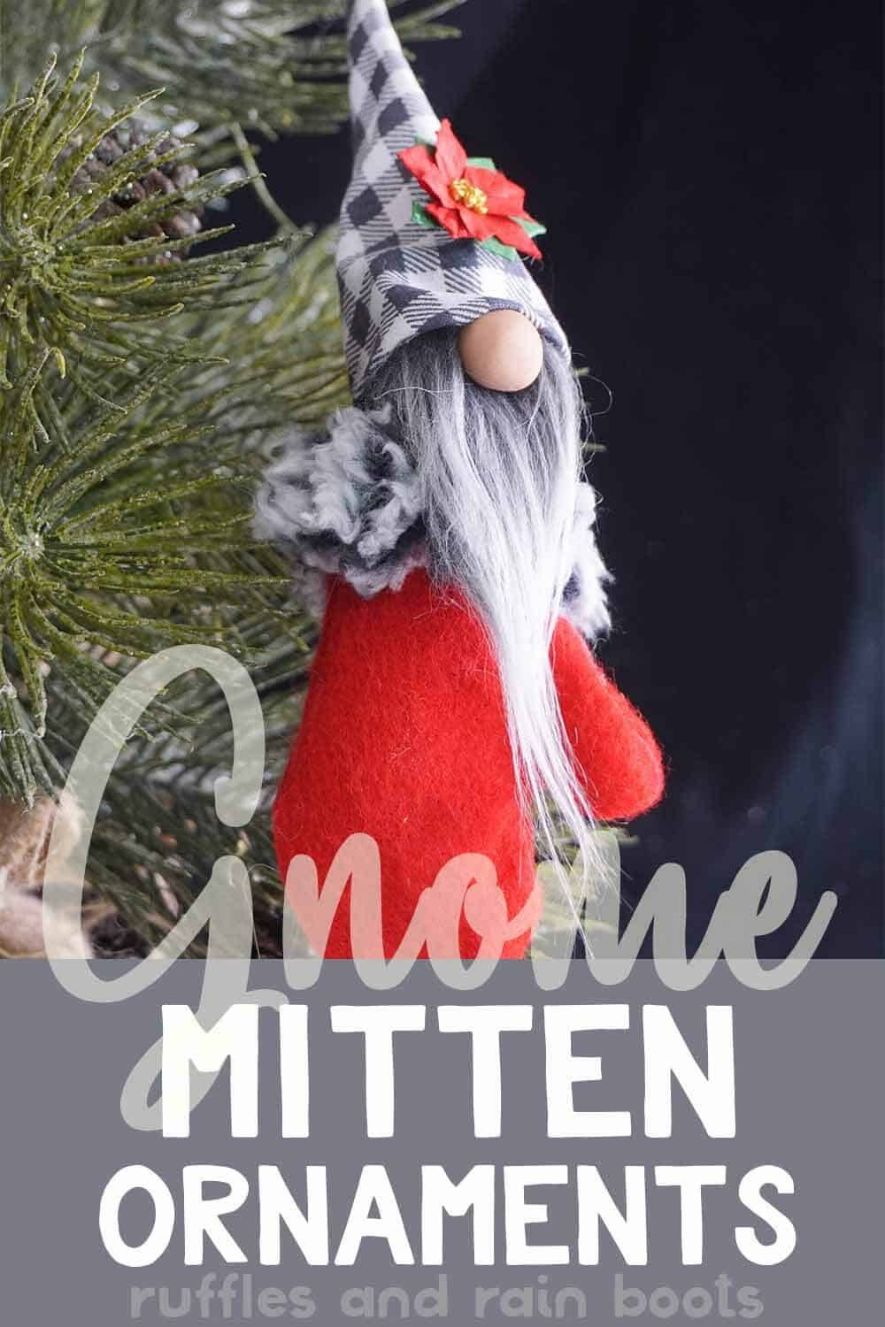 closeup of gnome in a mitten for a christmas ornament with text which reads gnome mitten ornaments