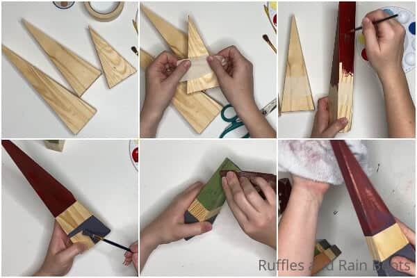photo collage tutorial of how to make wood block gnomes