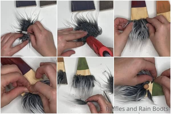 photo collage tutorial of how to make wood gnomes from 2x4s
