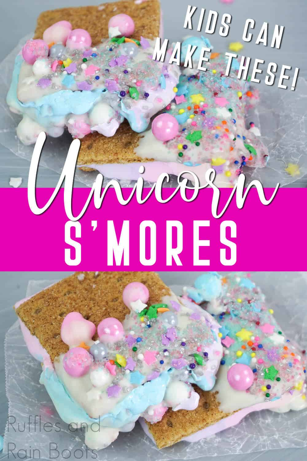 photo collage of easy after school snack idea with text which reads unicorn smores kids can make these