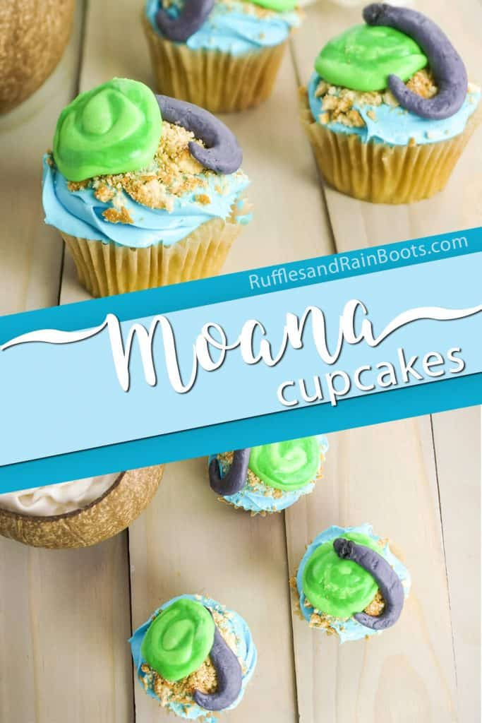 photo collage of heart of te fiti cupcakes with text which reads moana cupcakes