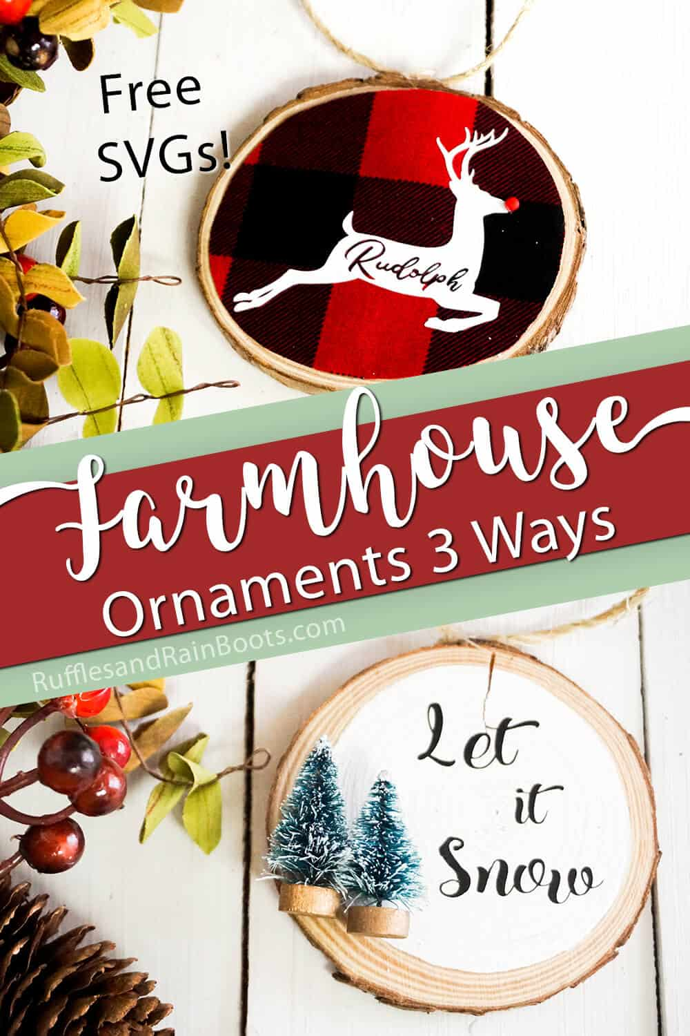 photo collage of wood chip ornaments made on the cricut with text which reads Free SVGs Farmhouse Ornaments 3 ways