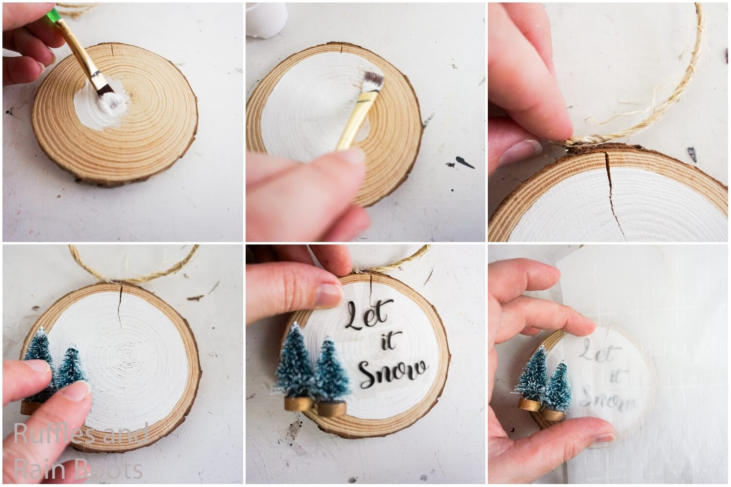 how to make a wood round ornament with tiny christmas trees with free svgs for silhouette