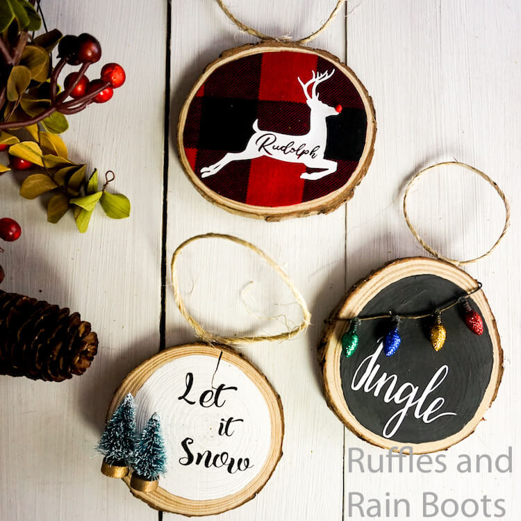 how to make wood round ornaments with cricut