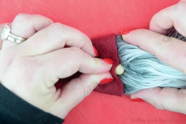 glue on the gnome nose and learn how to make a scrunched gnome hat