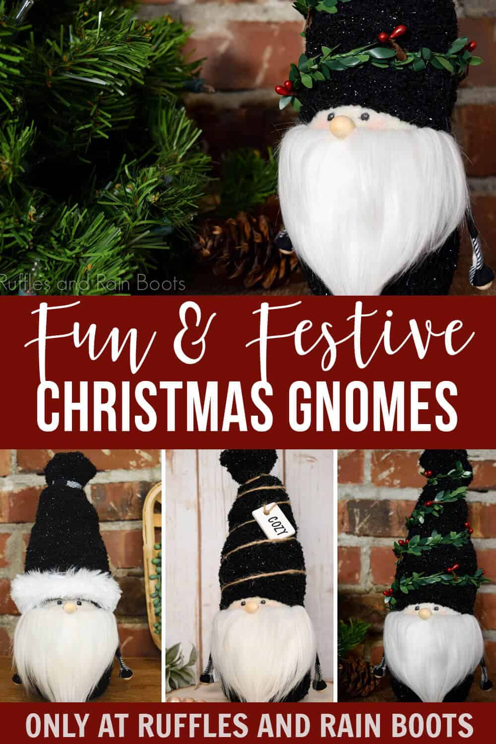 photo collage of Gnome with a Face Christmas Gnome Tutorial with text which reads fun & festive christmas gnomes