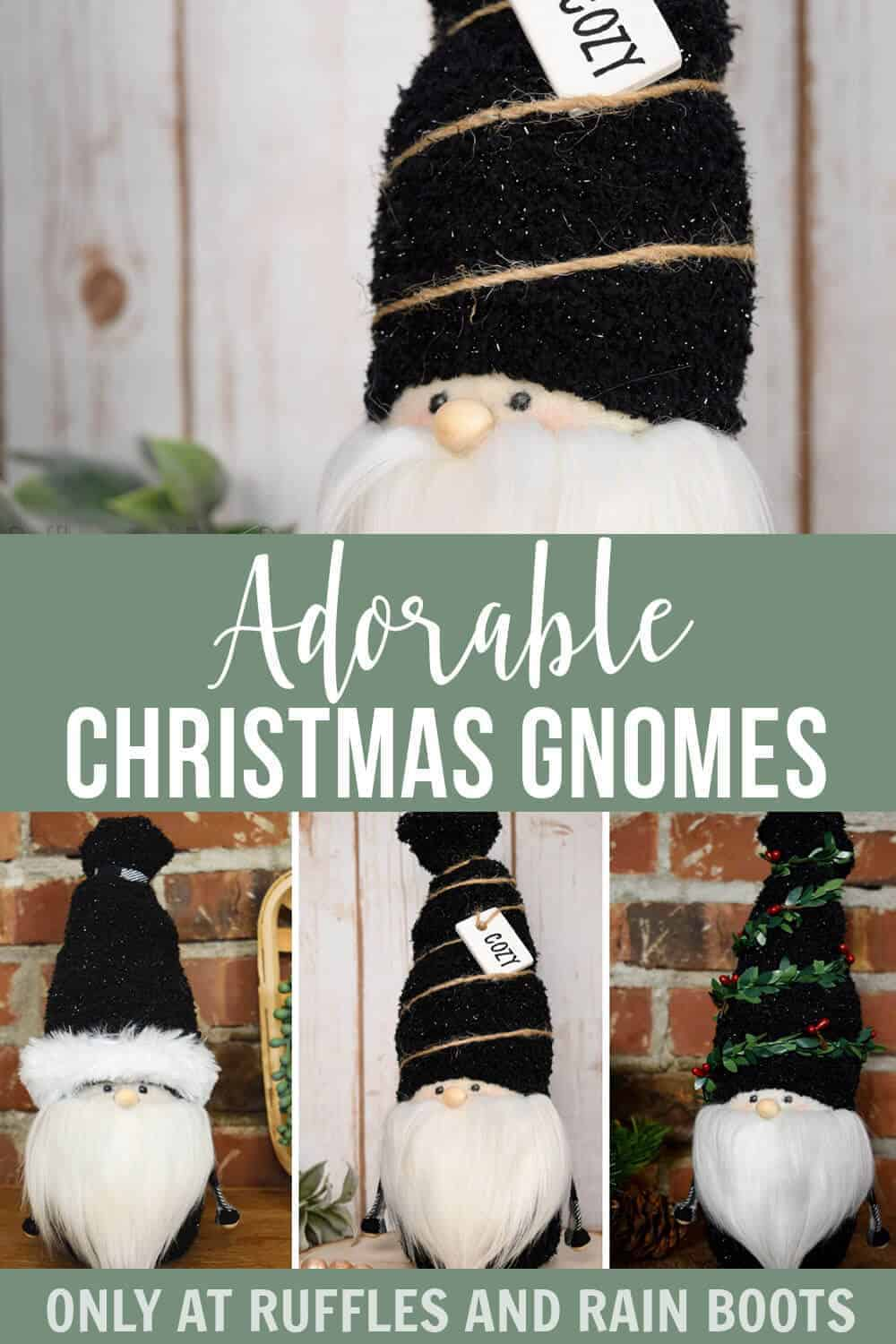 photo collage of Gnome with a Face Rustic Gnome with text which reads adorable christmas gnomes