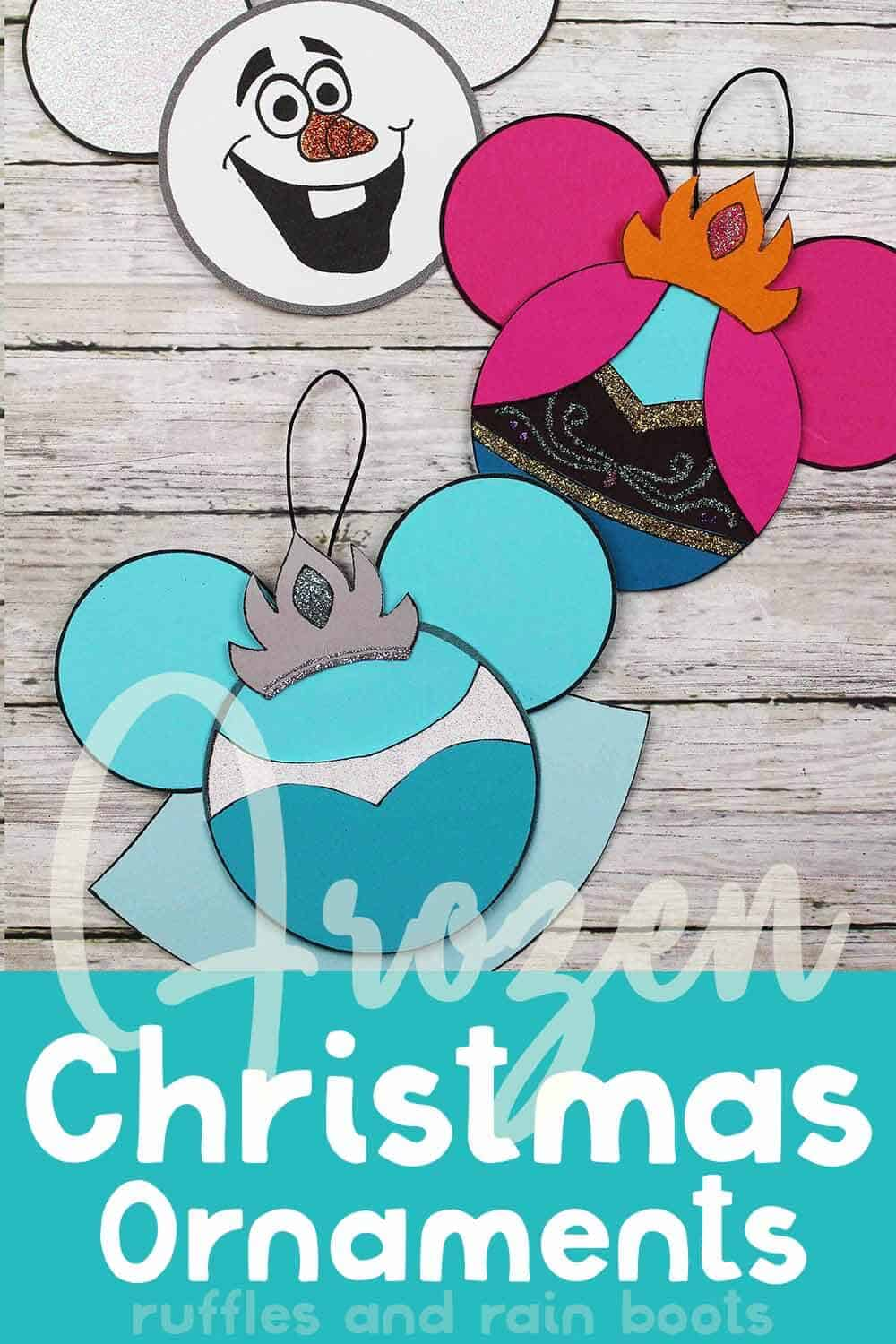 elsa and anna ornaments (and an olaf ornament too) with text which reads frozen christmas ornaments