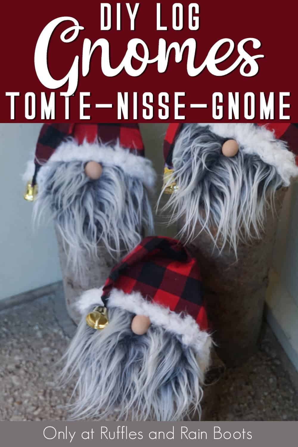 closeup of norse gnomes for the porch with text which reads DIY Log gnomes tomte gnome nisse