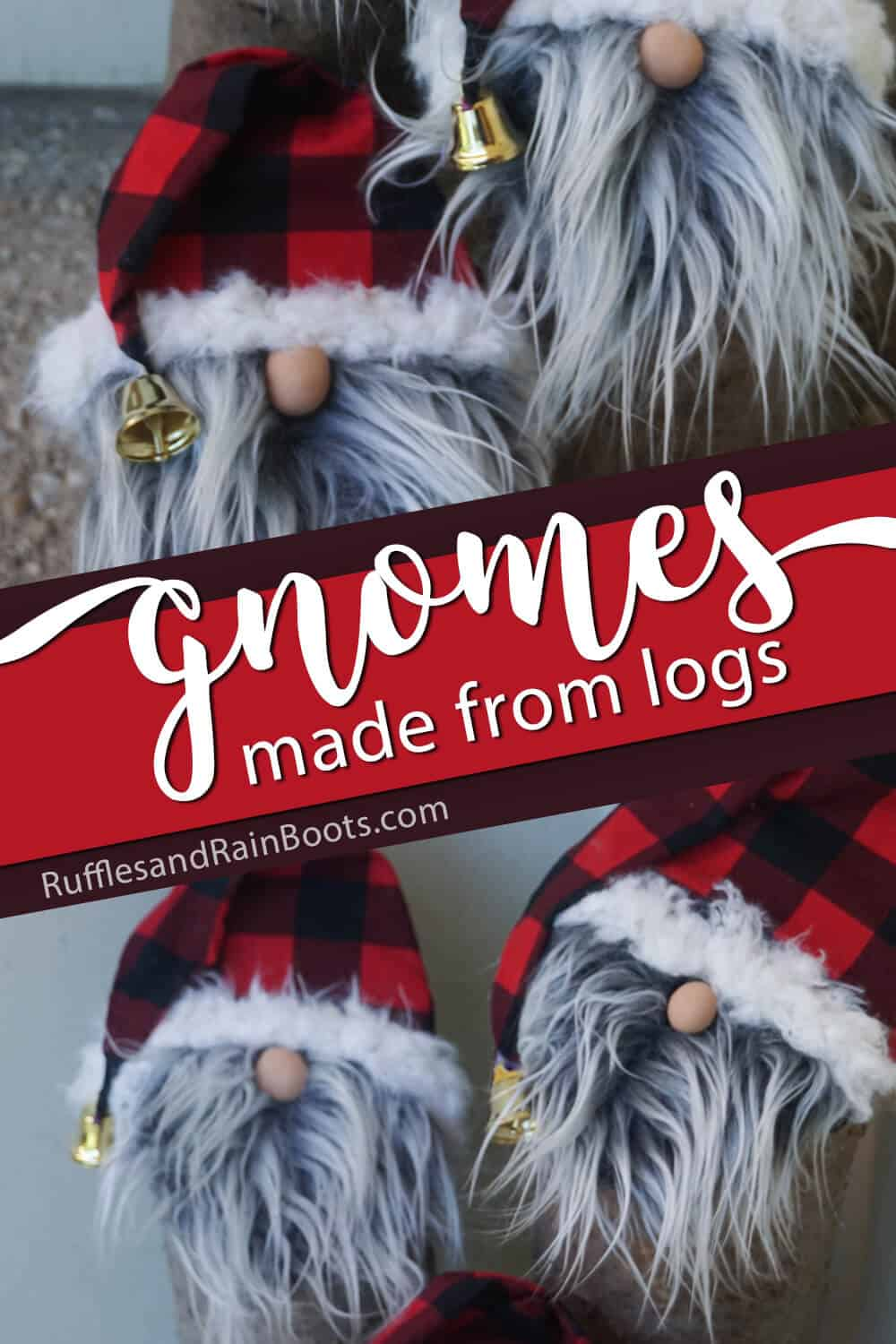 photo collage of scandinavian gnome decorations for the porch with text which reads gnomes made from logs