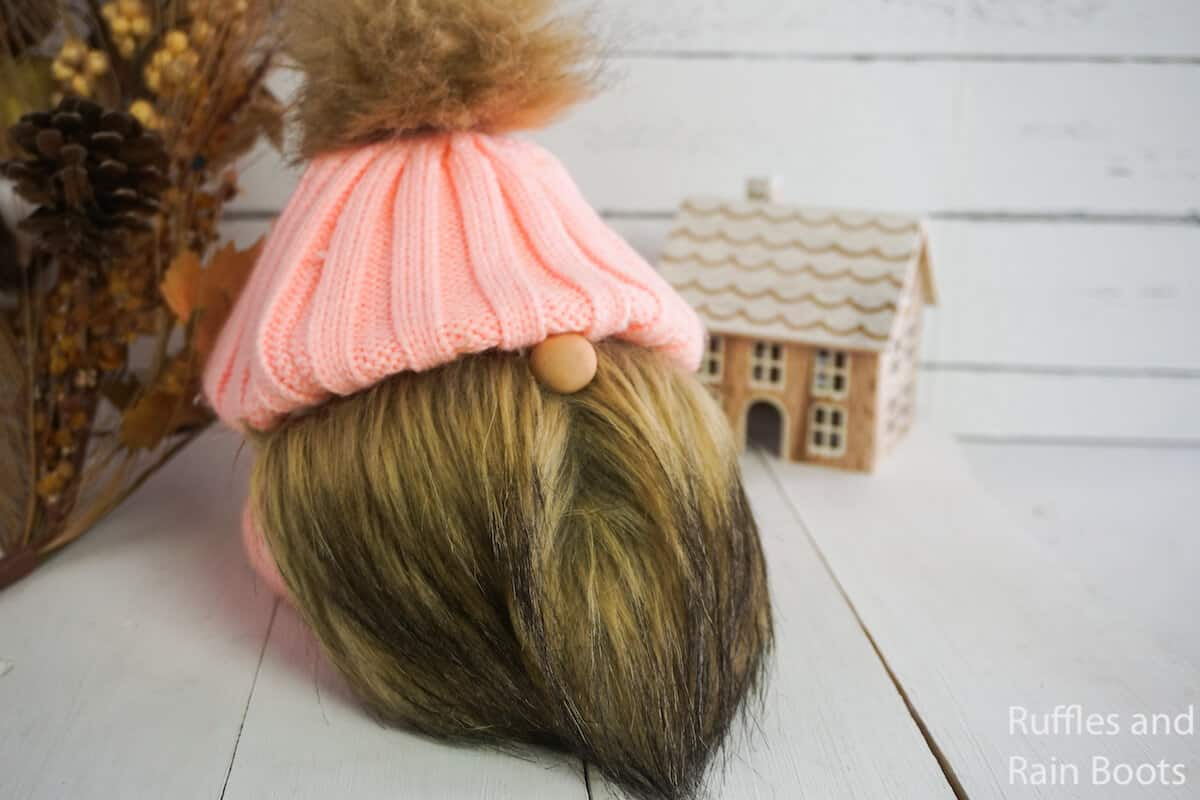 how to make a gnome with a knitted at and pom pom