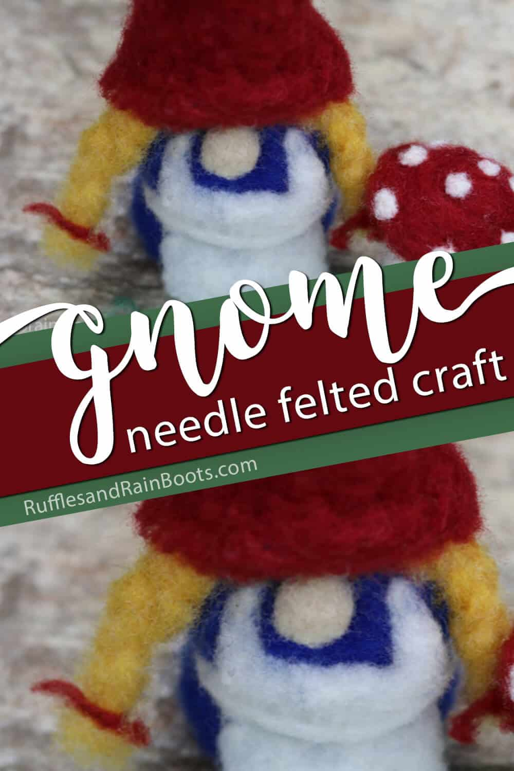Needle felted ornament gnome
