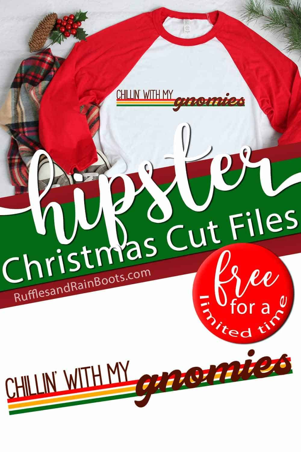 photo collage of vintage style free Christmas SVG set with text which reads hipster christmas cut files free for a limited time