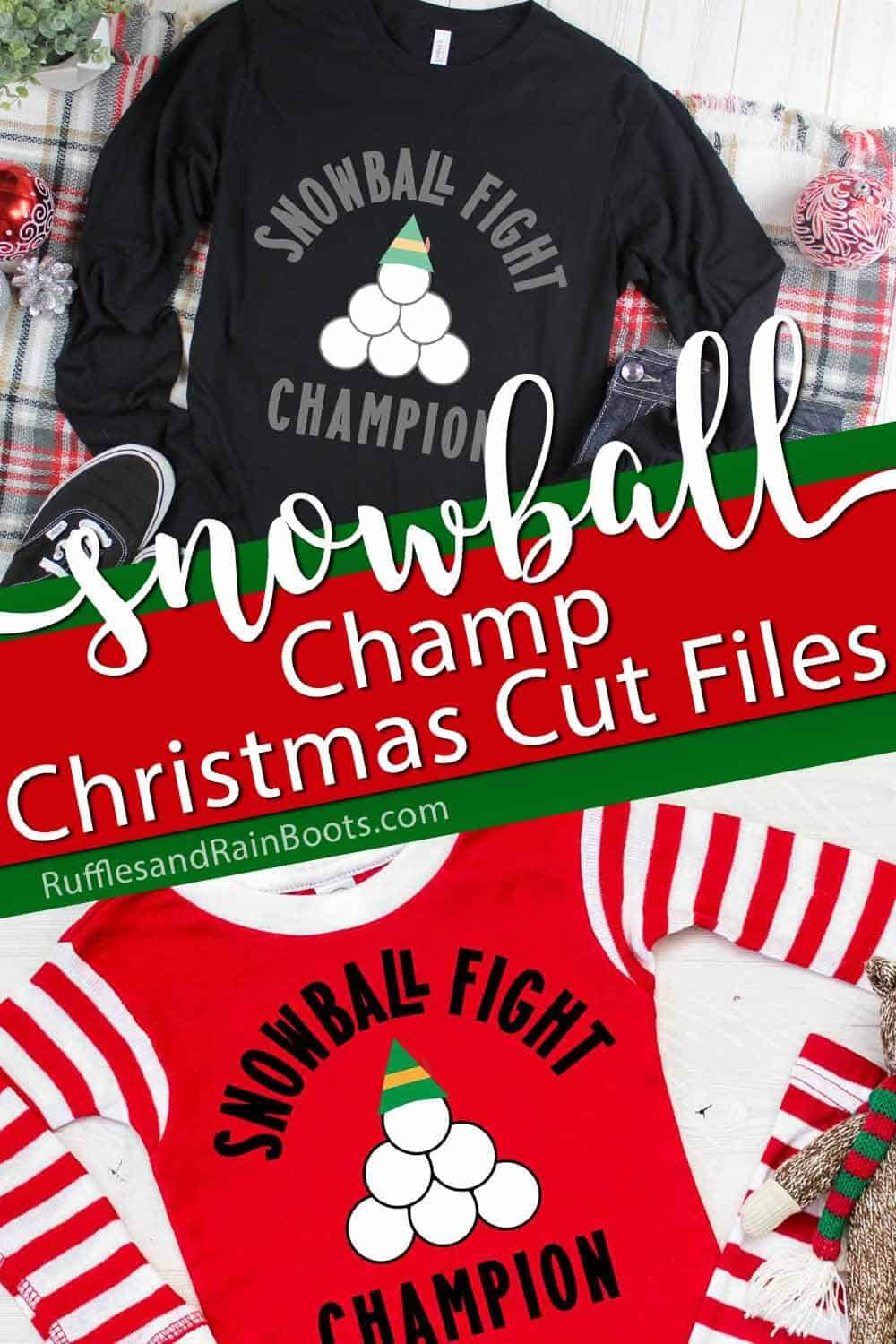 photo collage of snowball fight champion free Christmas cut file set with text which reads snowball champ christmas cut files